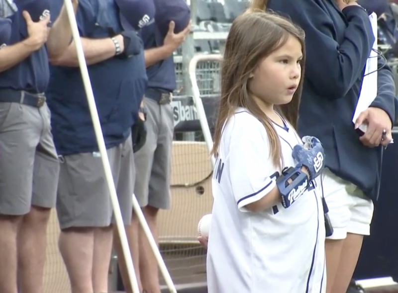 Hand-fashioned with 3D printer allows girl to throw ceremonial first pitch